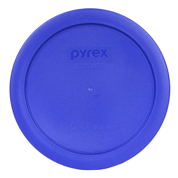 Pyrex Simply Store 4-Cup Blue Square Dots Glass Storage Bowl with Plastic Lid Set