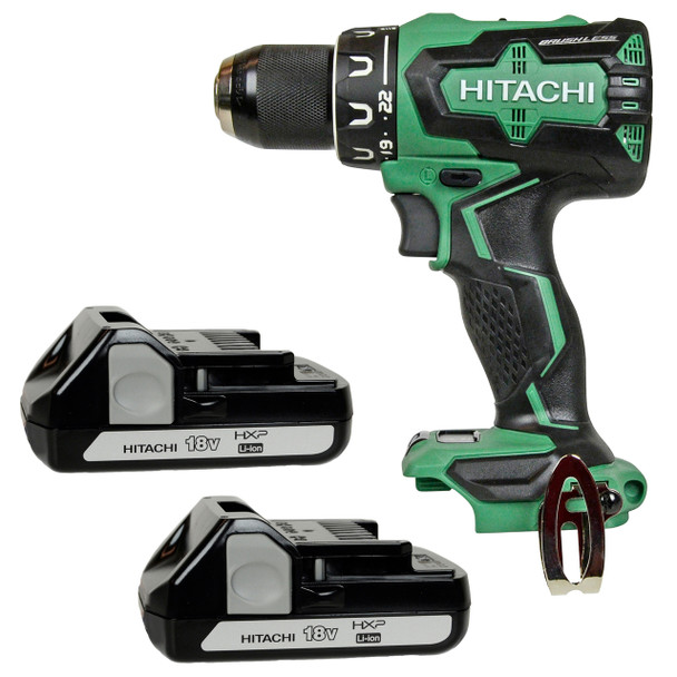 Hitachi DS18DBFL2 drill and 2 BSL1815X lithium ion batteries