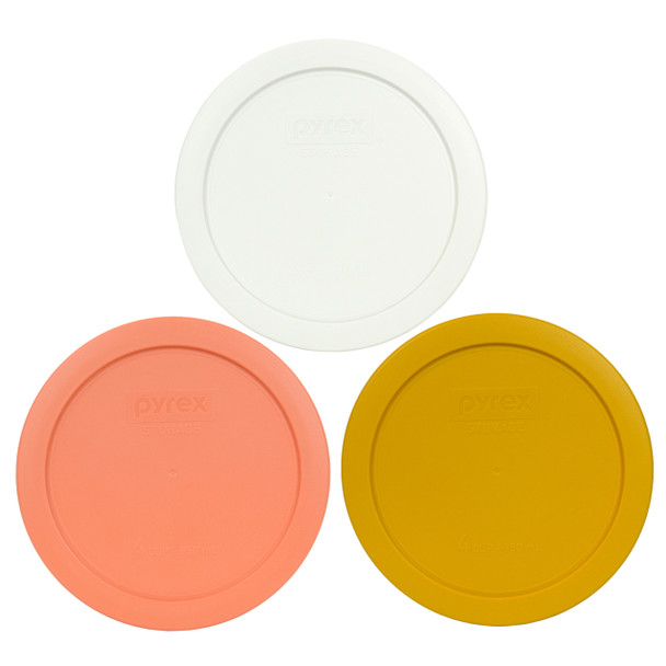 Pyrex 7201-PC 4 Cup 6 inch (1) Light Orange (1) Butter Yellow, and (1) White Plastic Replacement Lid