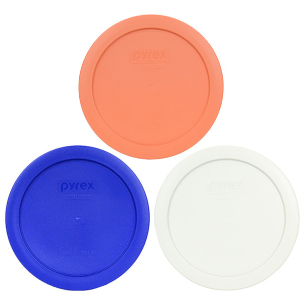 Pyrex 7201-PC Orange, White and Cobalt Blue Round 4 Cup Storage Lids - 3 Pack