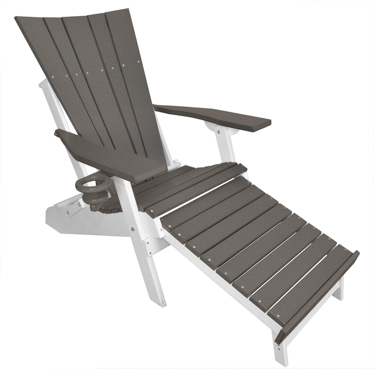 Lake Shore Adirondack Chair With Integrated Footrest   Dark Gray/White
