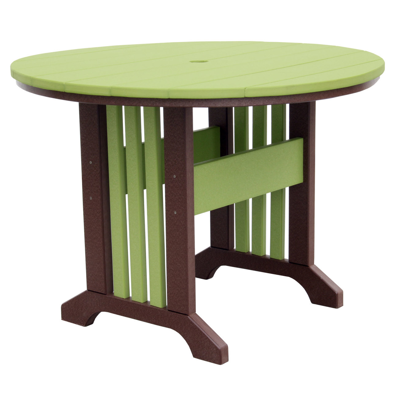 Outer Banks Poly Lumber Round Outdoor Table With Picket Fence Base In Lime  Green And Tudor