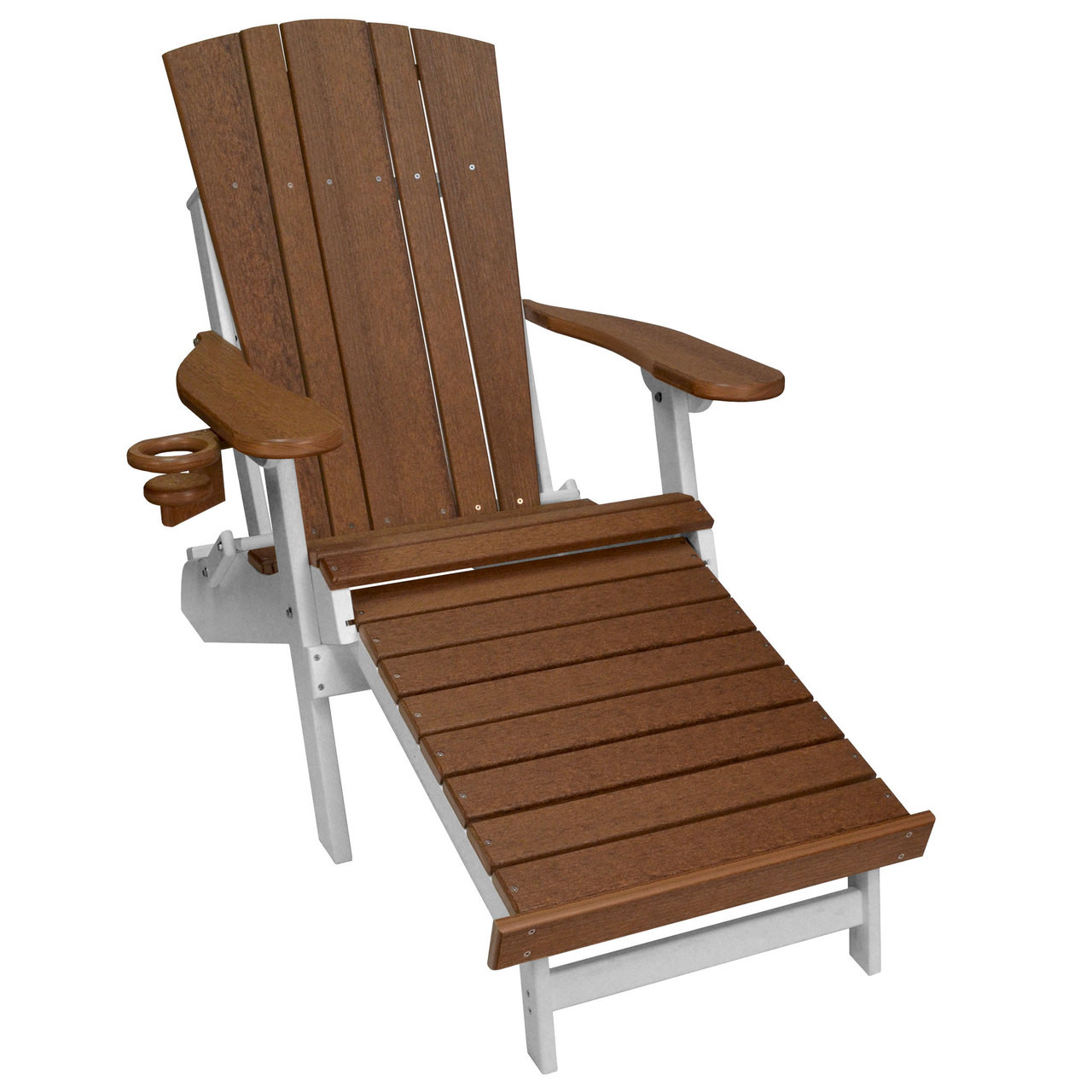 Harbor Collection Adirondack Chair With Integrated Footrest In Antique  Mahogany And White
