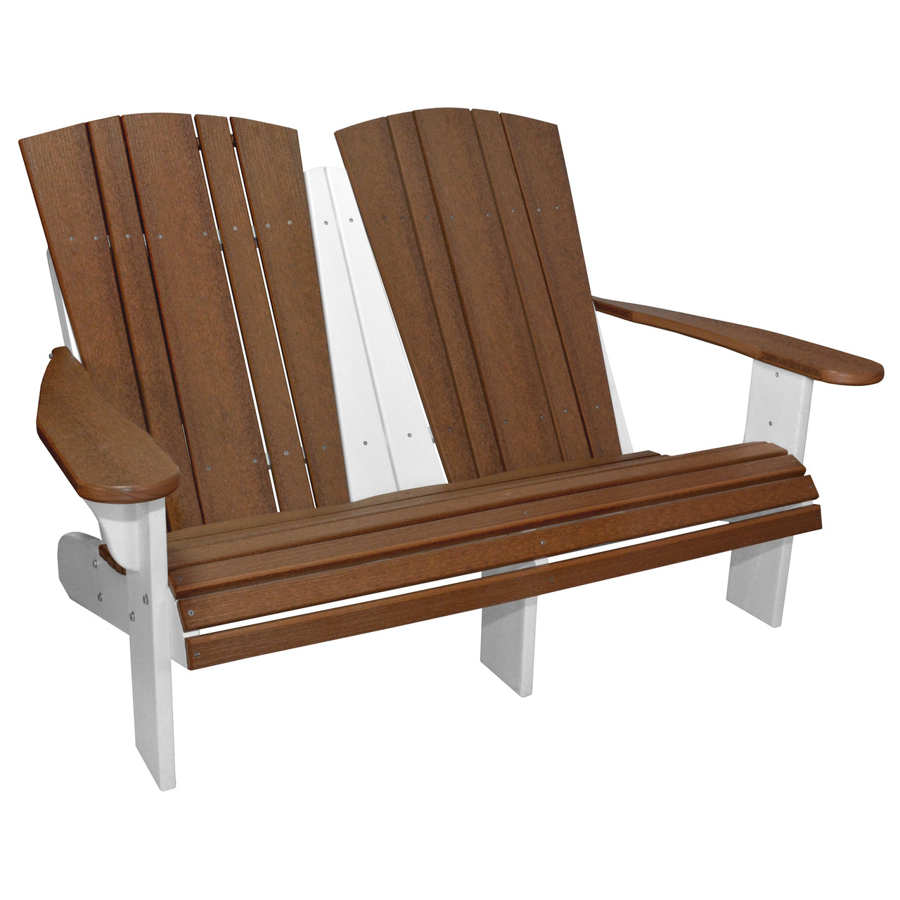 Harbor Collection Fixed Double Adirondack Chair In Antique Mahogany And  White