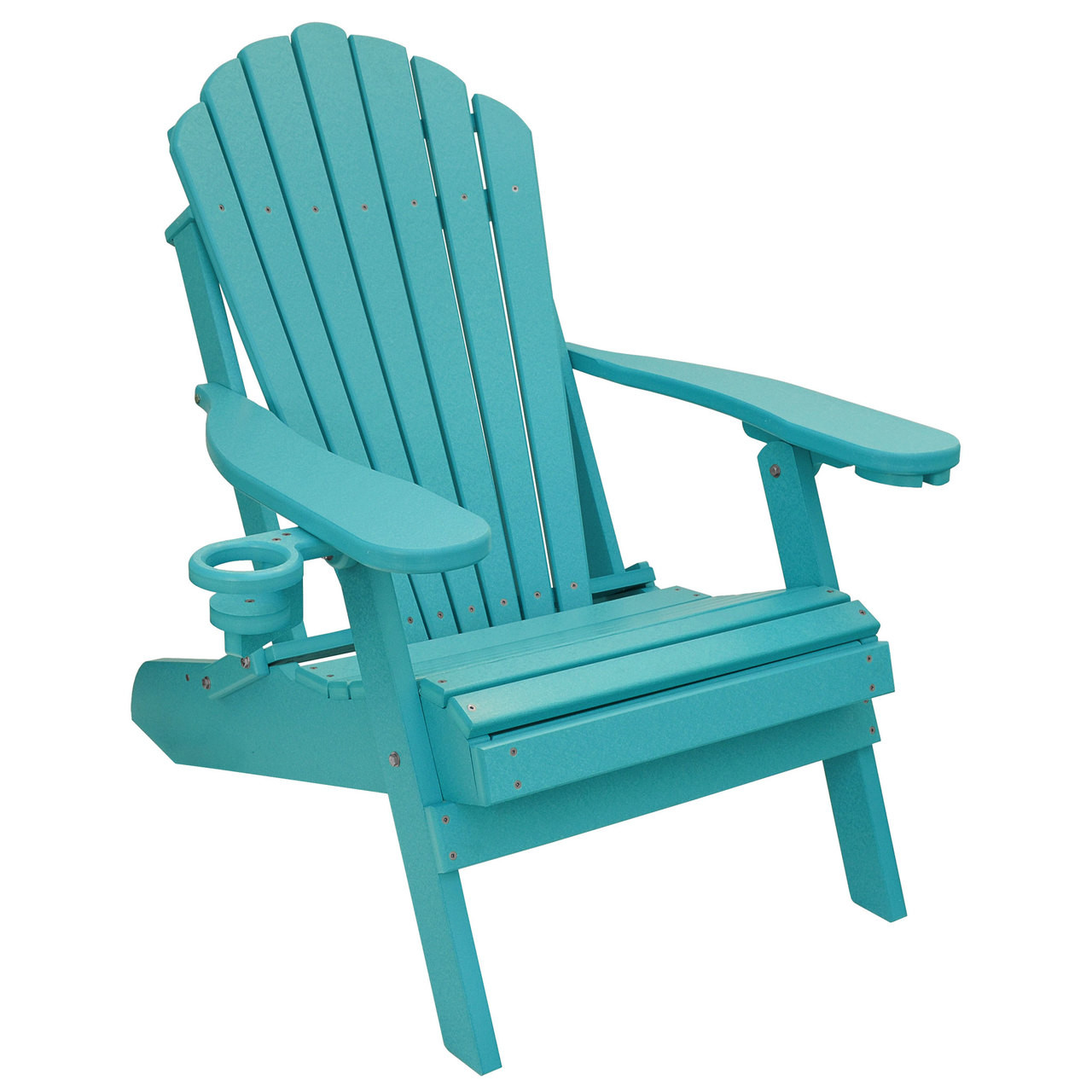 Outer Banks Deluxe Oversized Poly Lumber Folding Adirondack Chair with Cup Holder - Aruba Blue  sc 1 st  ECCB Outdoor & Deluxe Oversized Poly Lumber Folding Adirondack Chair with Cup Holders
