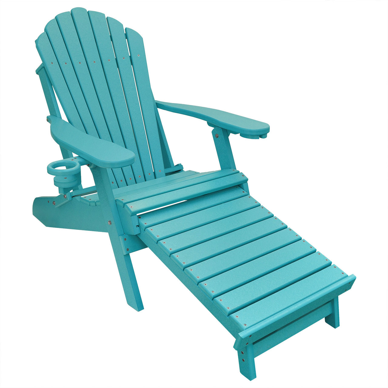 Incroyable Outer Banks Poly Lumber Folding Adirondack Chair With Integrated Footrest    Aruba Blue