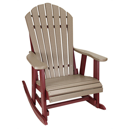 Outer Banks Deluxe Poly Lumber Adirondack Rocking Chair - Weatherwood/Cherry