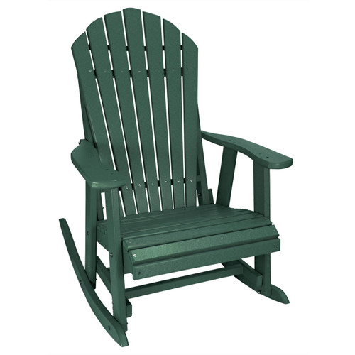 Outer Banks Deluxe Poly Lumber Adirondack Rocking Chair   Forest Green