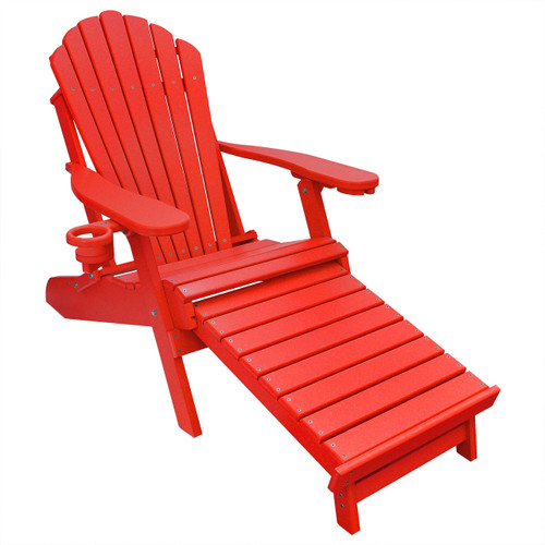 Outer Banks Poly Lumber Folding Adirondack Chair With Integrated Footrest    Bright Red