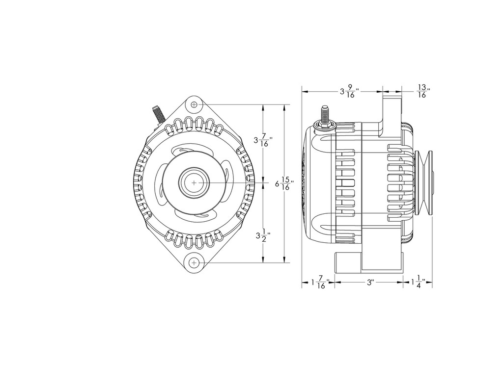 S Series Billet 170a racing alt - Early Ford - 1 wire - Polished