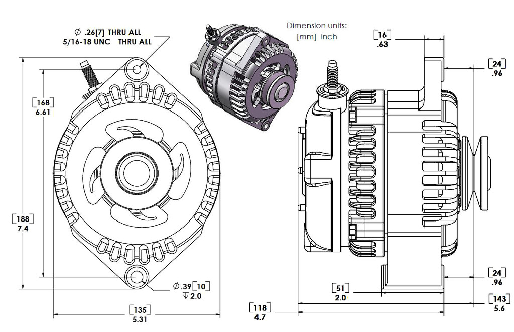 """S Series 6 Phase High Output 320 Amp Alternator with 6.61"""" - Self Exciting - Polished w/March 1.75"""" Pulley and Fan"""
