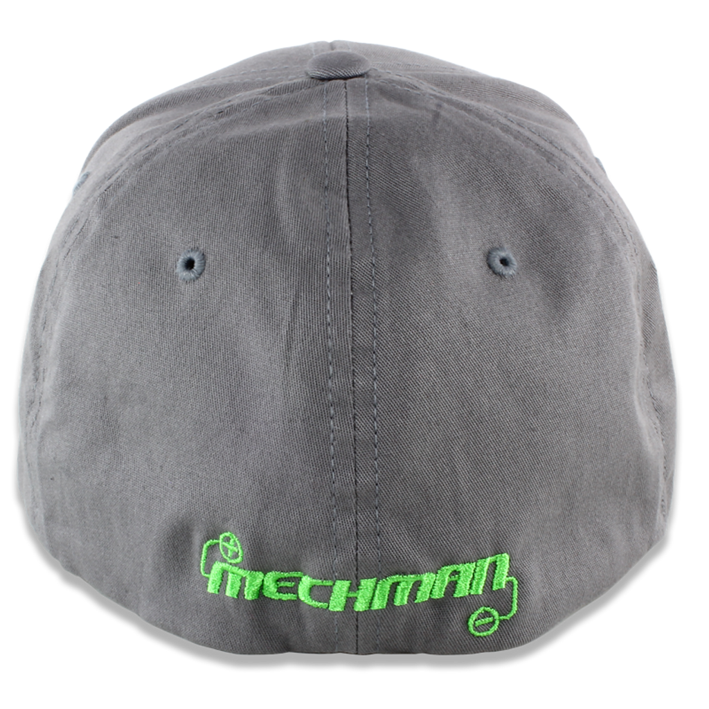 Mechman Embroidered Gray Flexfit Fitted Hat -Curved Bill