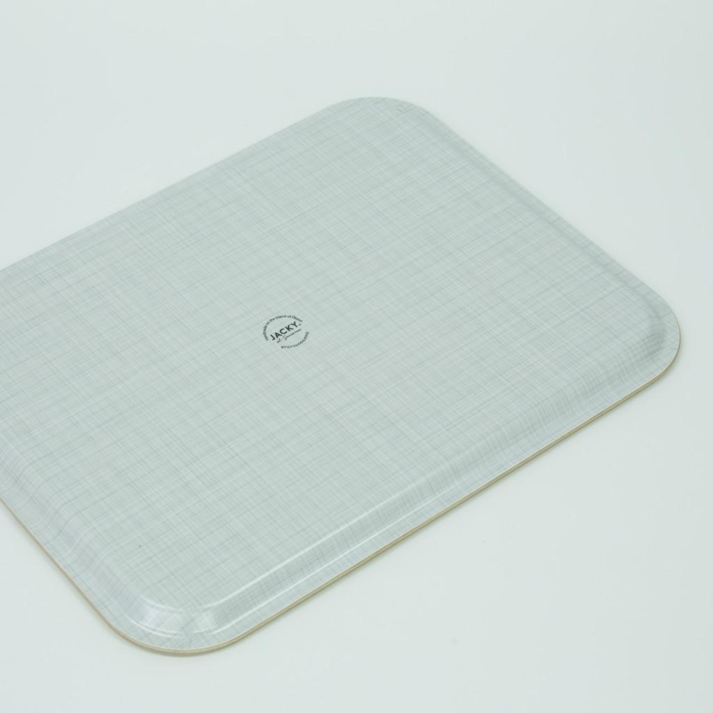 Back of British landscape melamine tray pattern by designer Jacky Al-Samarraie