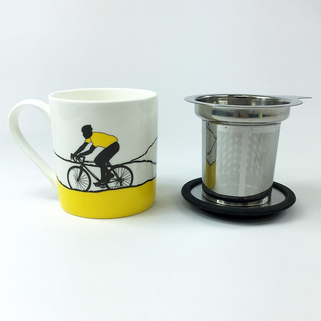 Yellow Jersey cycling mug with tea filter