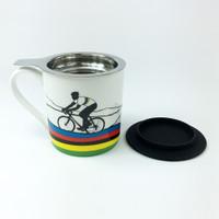 Rainbow jersey cycling mug with tea filter