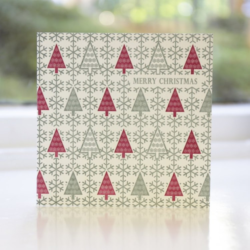 Jacky Al-Samarraie Fairisle Trees Letterpress Christmas Card