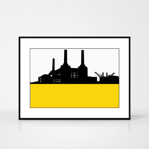 Print of Battersea Power Station in London by designer Jacky Al-Samarraie.  Print colour is yellow and the print shape is landscape.  Shown in a frame for reference.