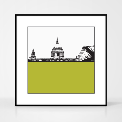Print of St. Paul's Cathedral and the Millennium Bridge in London by designer Jacky Al-Samarraie.  Print colour is green and the print is square in shape.  Shown in frame for reference.