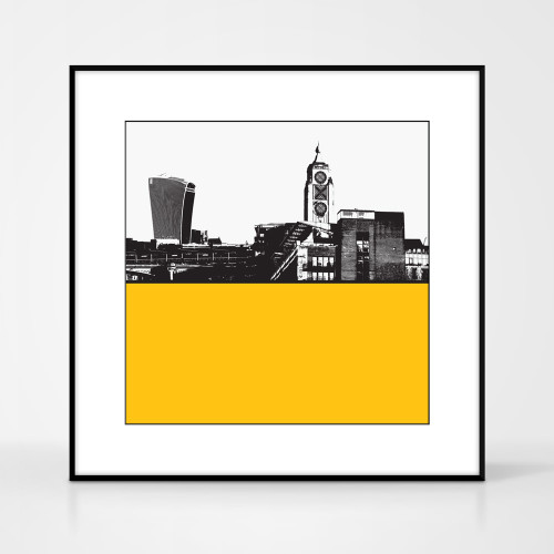 Print of the OXO Tower and Walkie Talkie building in London by designer Jacky Al-Samarraie.  Print colour is yellow and the print is square in shape.  Shown in frame for reference.