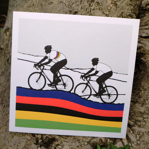 Cycling greeting card - Rainbow Jersey