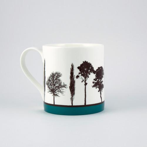 Jacky Al-Samarraie Teal Landscape Tree Bone China Mug