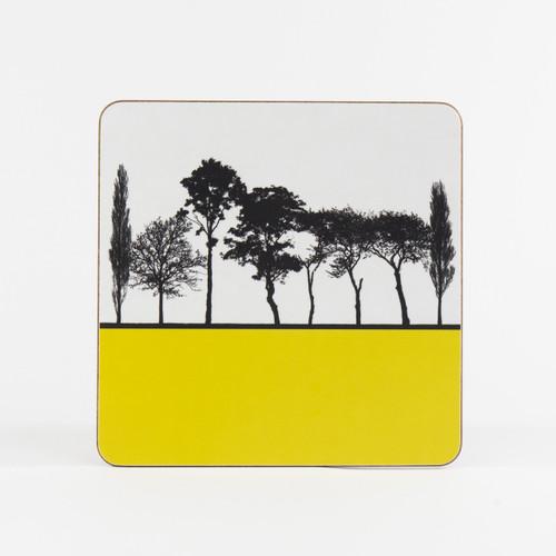 Mustard British landscape table mat by designer Jacky Al-Samarraie