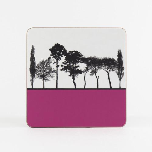 Pink British landscape table mat by designer Jacky Al-Samarraie