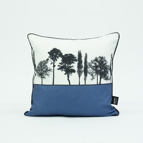 British landscape cushion in blue by designer Jacky Al-Samarraie