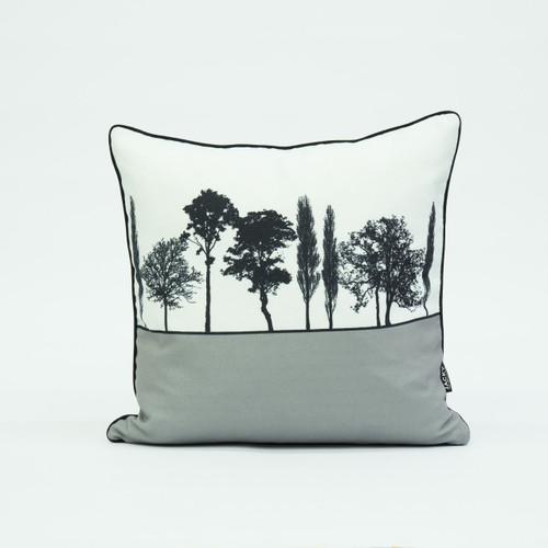 British landscape cushion in grey by designer Jacky Al-Samarraie