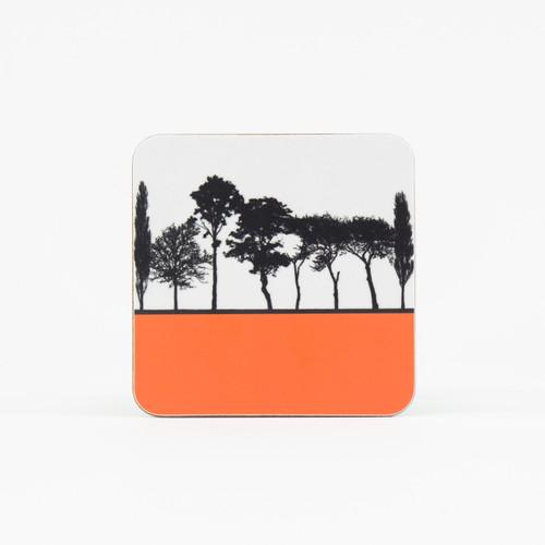 Orange British landscape coaster by designer Jacky Al-Samarraie