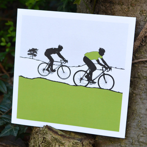 Jacky Al-Samarraie Green Jersey Cycling Greeting Card
