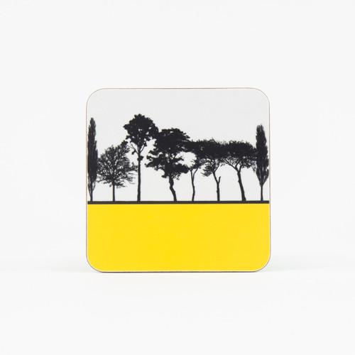 Yellow British landscape coaster by designer Jacky Al-Samarraie