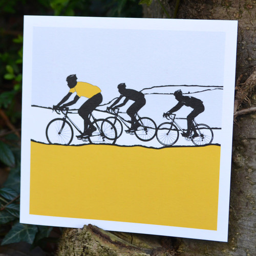 Jacky Al-Samarraie Yellow Jersey Cycling Greeting Card