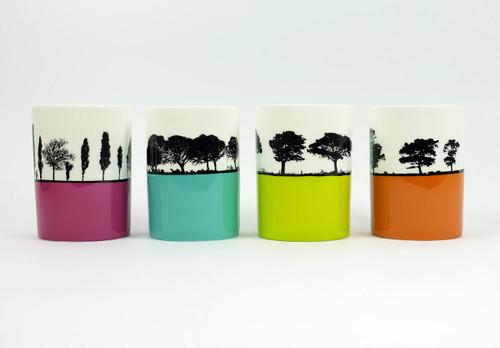 Set of 4 Landscape bone china mugs by Jacky Al-Samarraie