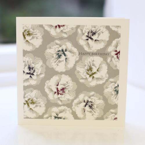 Jacky Al-Samarraie Grey Camellia Birthday Card