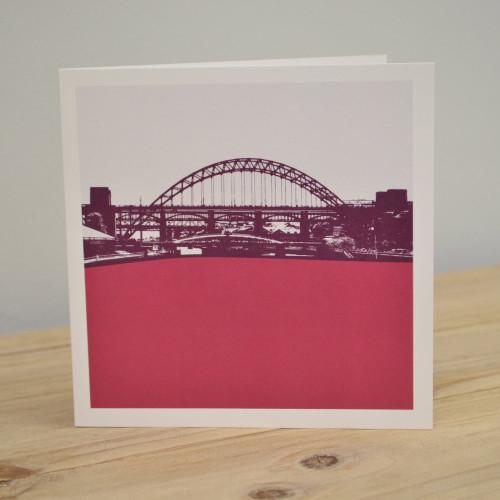 Jacky Al-Samarraie Tyne Bridge - Newcastle Raspberry Greeting Card