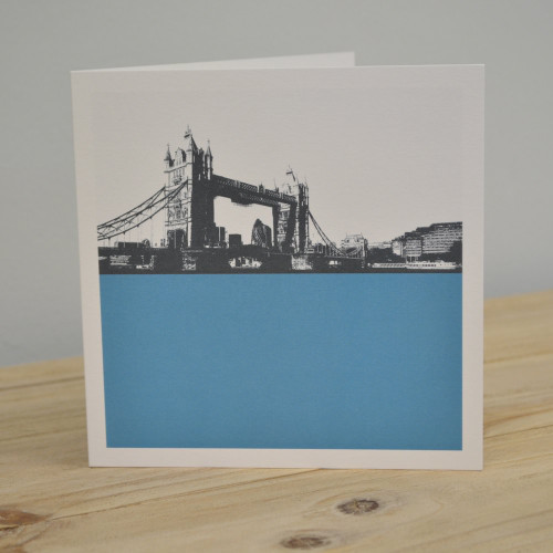 Jacky Al-Samarraie Tower Bridge - Blue Greeting Card