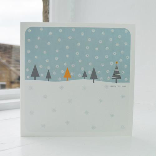 Jacky Al-Samarraie Snowfall - Blue Christmas Card