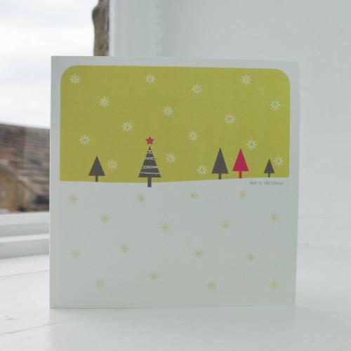 Jacky Al-Samarraie Snowfall - Lime Christmas Card