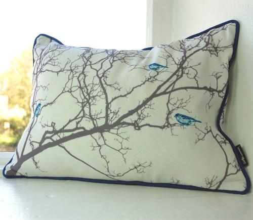 Jacky Al-Samarraie Birdsong Cushion - Blue
