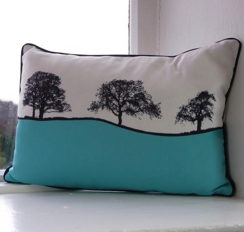 Jacky Al-Samarraie Burnsall Landscape Cushion - Turquoise