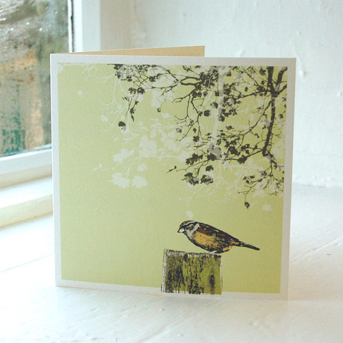 Jacky Al-Samarraie Bird Garden Bird on Post Greeting Card