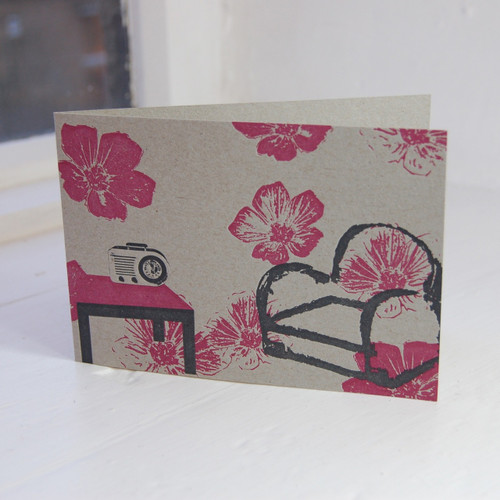 Jacky Al-Samarraie Comfy Chair & Transistor Letterpress Greeting Card