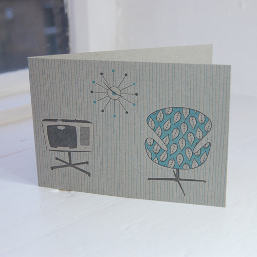 Jacky Al-Samarraie Swan Chair & TV Letterpress Greeting Card