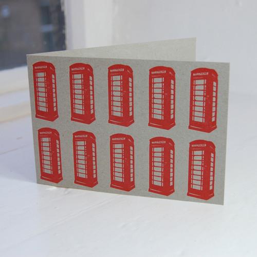 Jacky Al-Samarraie Red Telephone Boxes Letterpress Greeting Card