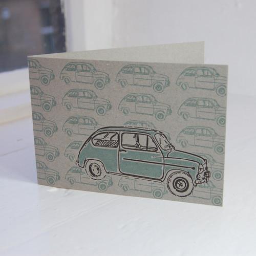 Jacky Al-Samarraie Fiat 500 Letterpress Greeting Card