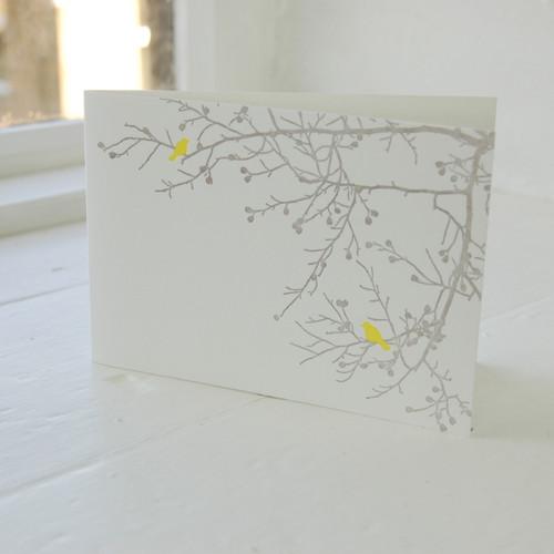 Jacky Al-Samarraie Birdsong Yellow Letterpress Greeting Card