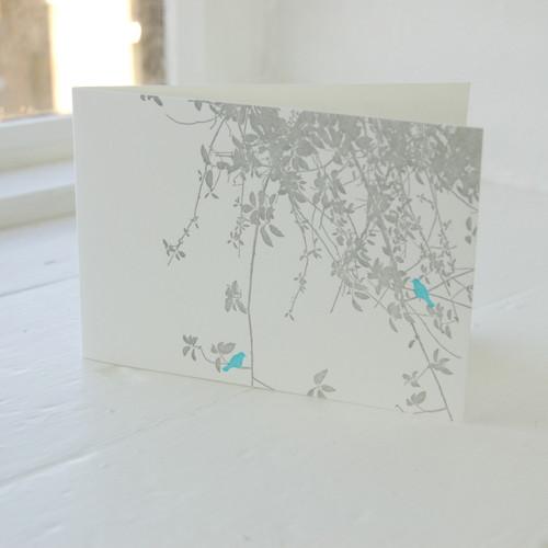 Jacky Al-Samarraie Birdsong Turquoise Letterpress Greeting Card