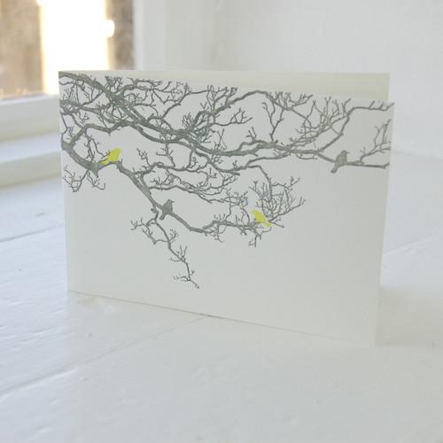 Jacky Al-Samarraie Birdsong Lime Letterpress Greeting Card
