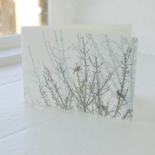 Jacky Al-Samarraie Birdsong Blue & Grey Letterpress Greeting Card